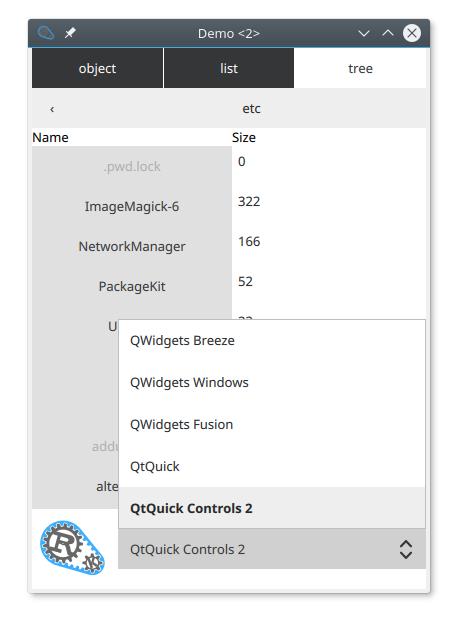 Qt Quick Controls 2 UI with Rust logic